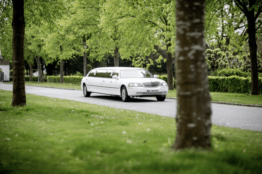 Who rides in the wedding limo?