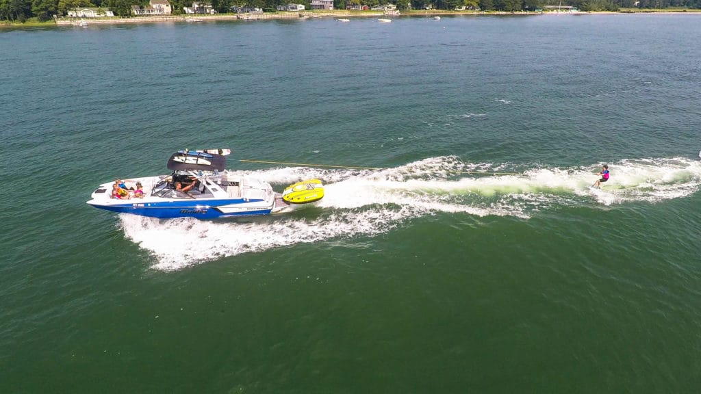 Wakeboarding and Water Skiing in Montauk New York on a Malibu Wakeboard Boat