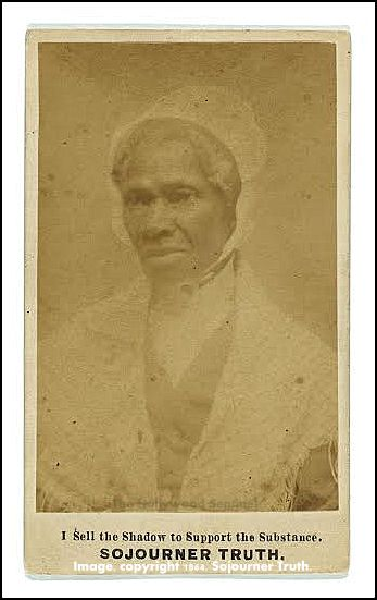 """Title: """"Sojourner Truth,"""" Other Title, """"I sell the shadow to support the substance"""" Summary: Photograph shows Sojourner Truth, head-and-shoulders portrait, facing slightly left. Created / Published c1864. Subject Headings - Truth, Sojourner,-- 1799-1883. Format Headings, Albumen prints--1860-1870. Cartes de visite-- 1860-1870. Portrait photographs--1860-1870. - Copyright 1864 by Sojourner Truth. - Purchase;--William A. Gladstone;--1995;--(PR 13 CN 1995:113)"""