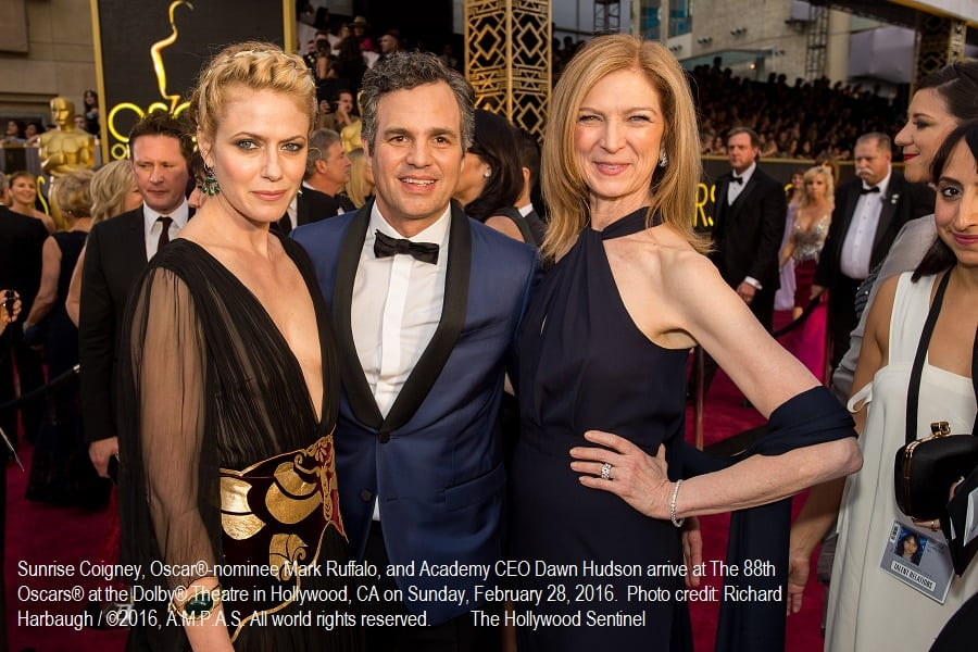 Sunrise Coigney, Oscar®-nominee Mark Ruffalo, and Academy CEO Dawn Hudson arrive at The 88th Oscars® at the Dolby® Theatre in Hollywood, CA on Sunday, February 28, 2016.