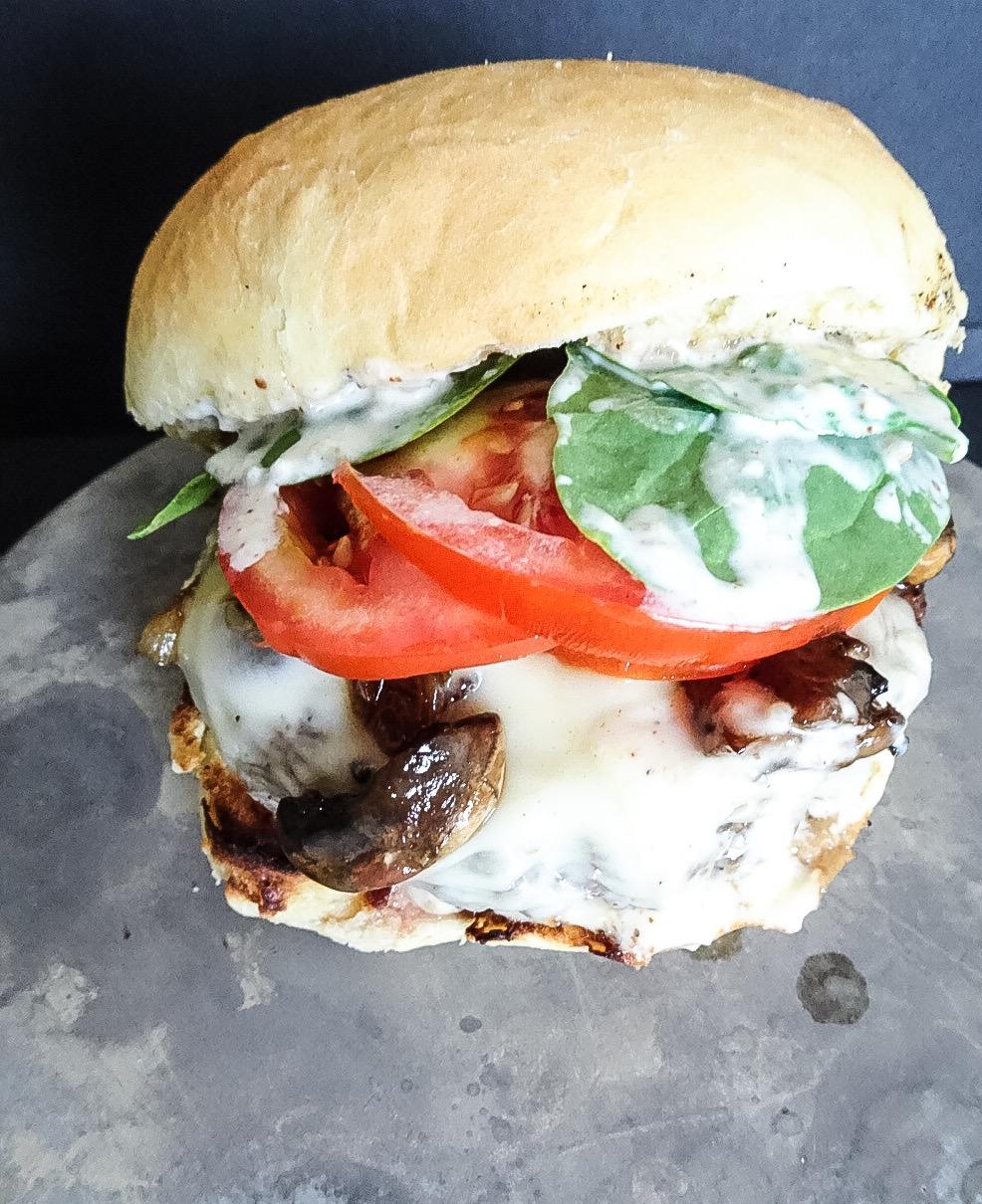caramelized onion and mushroom burger