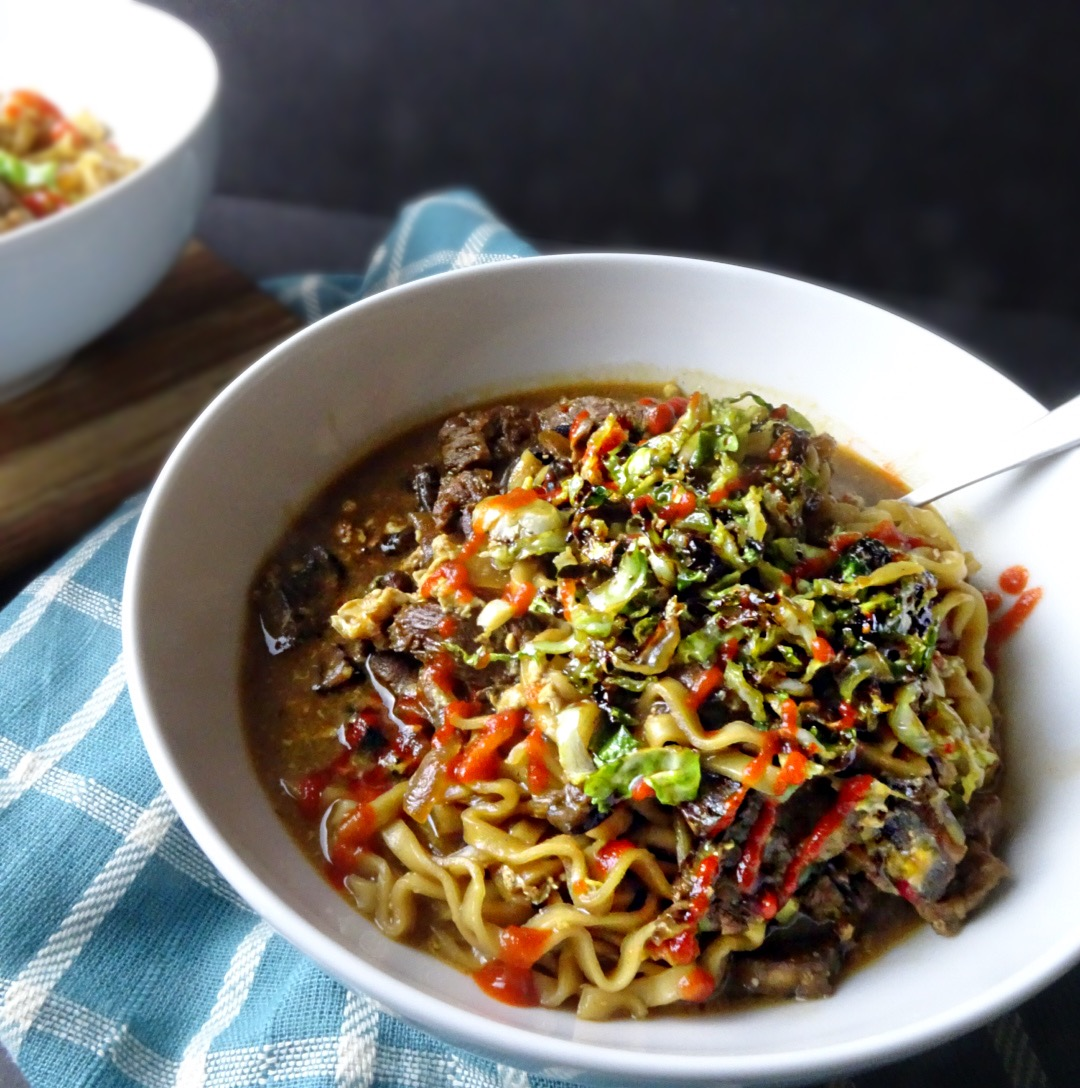 spicy beef ramen bowl