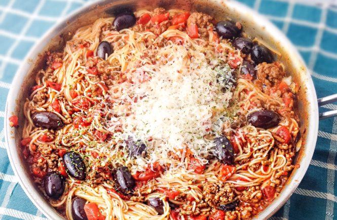 Savory Tomato and Olive Pasta