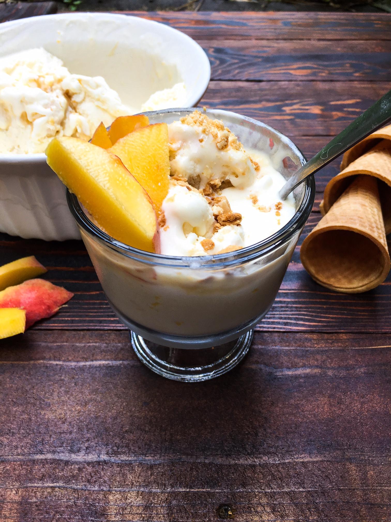 no churn peach and caramel ice cream