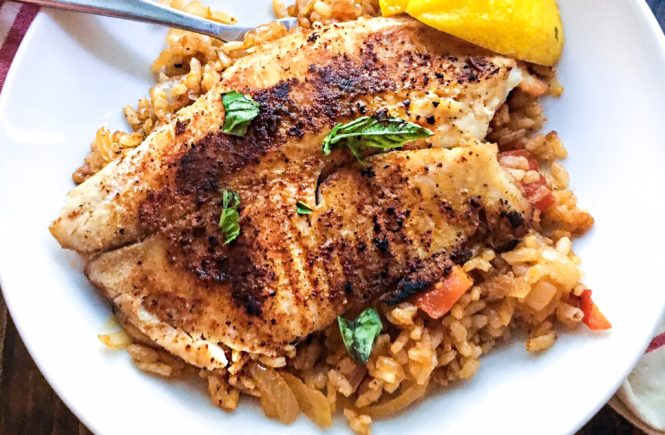 Grilled Fish and Dirty Rice