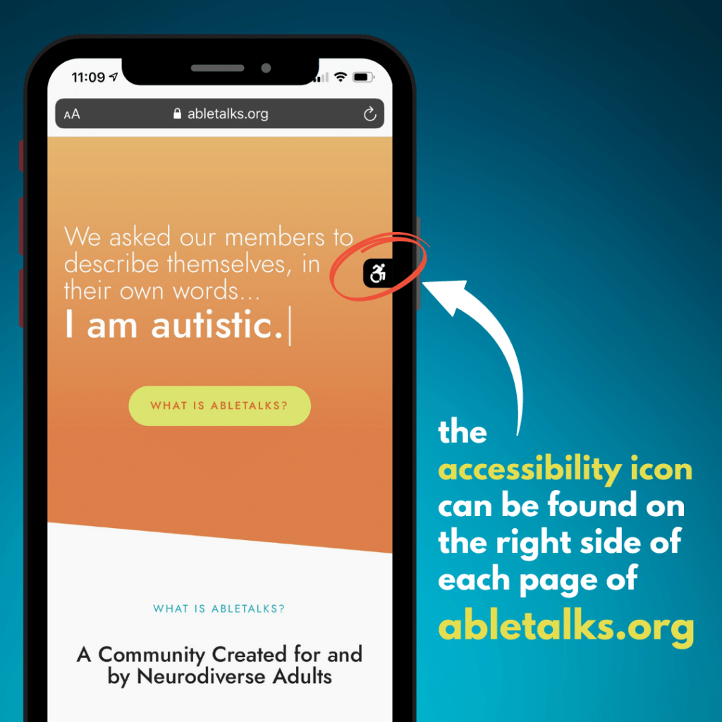 abletalks.org displayed on an iPhone screen with an arrow towards an accessibility icon on the right side of the screen.