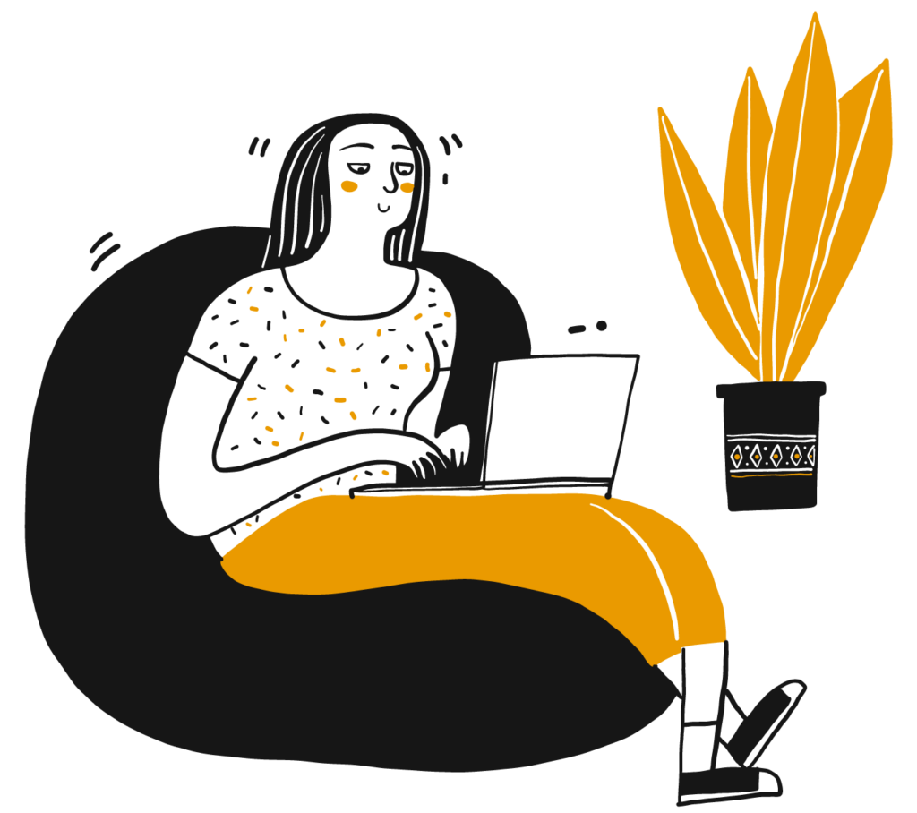 Illustration of a woman using a computer, sitting on a beanbag