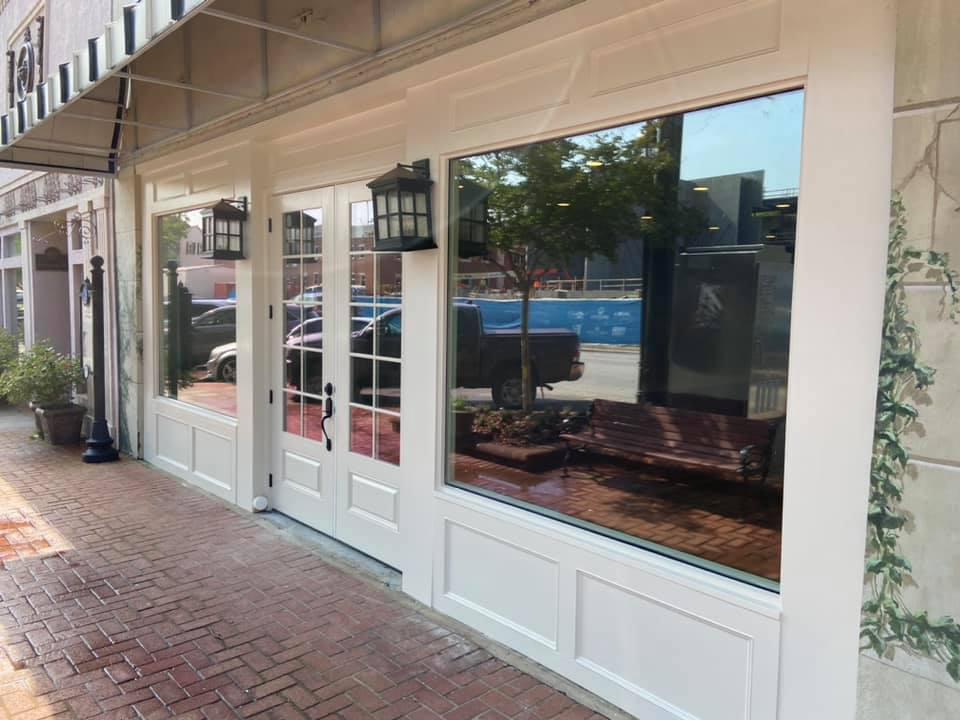photo of sidewalk view of newly renovated storefront in historic Lawrenceville.