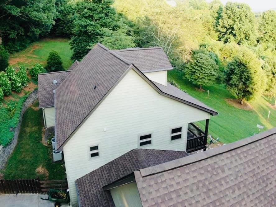 aerial photo of side of home with new roof