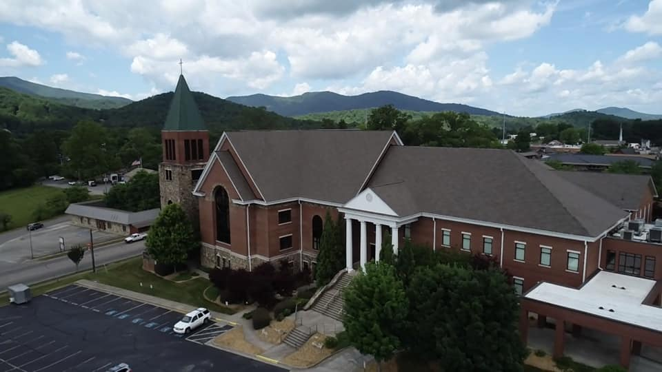 aerial view of new roof at McConnell Memorial Baptist Church