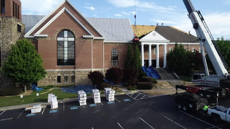 photo of staging area of new roofing materials