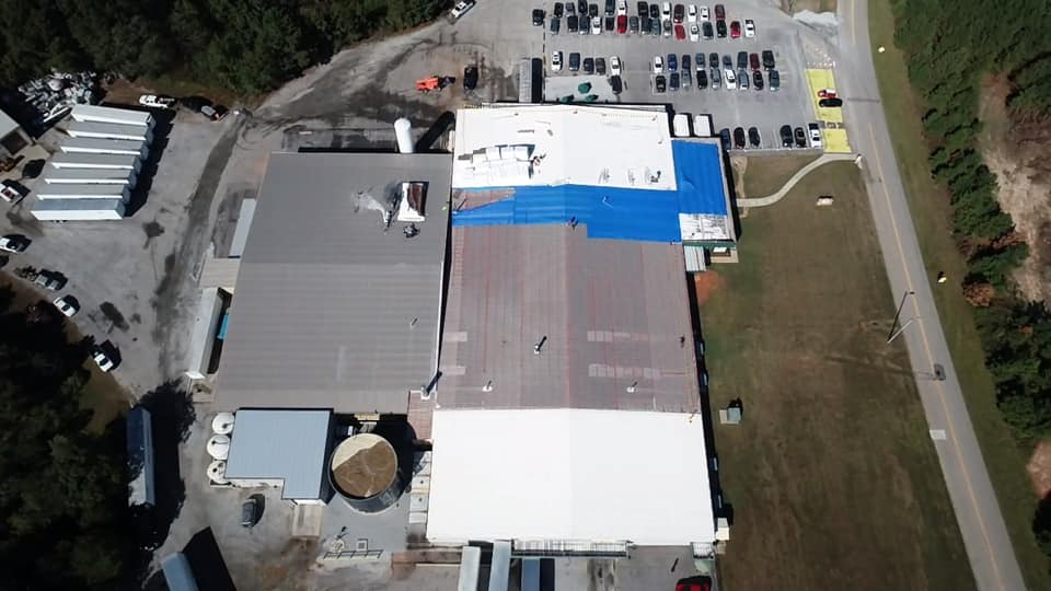 aerial photo of plant in Hartwell that had leaks and an aging roof