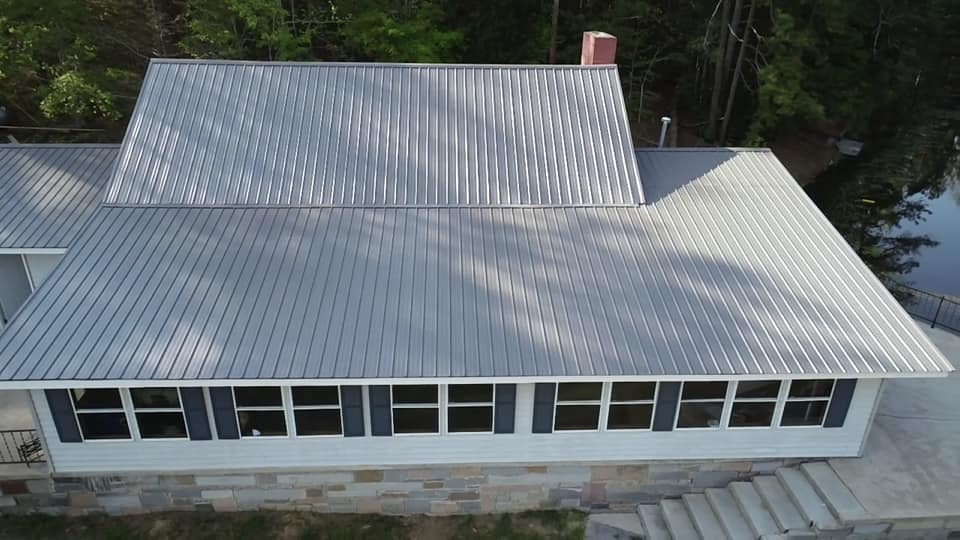 aerial photo of metal roof from rear of the home.
