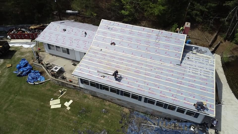 aerial view of underlay of the metal roof installation