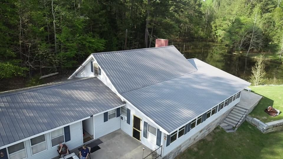 aerial view of newly installed metal roof on a residence