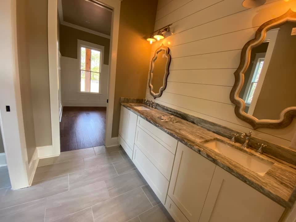 Photo of second master bathroom with double vanity