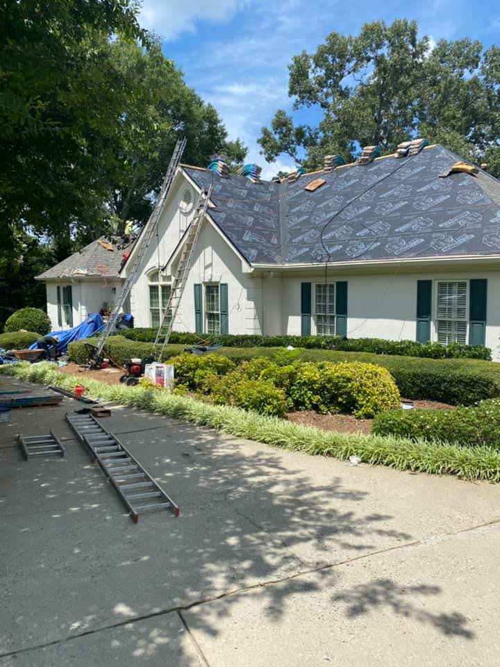 Hail damaged roof replacement in Watkinsville with the new underlay down.