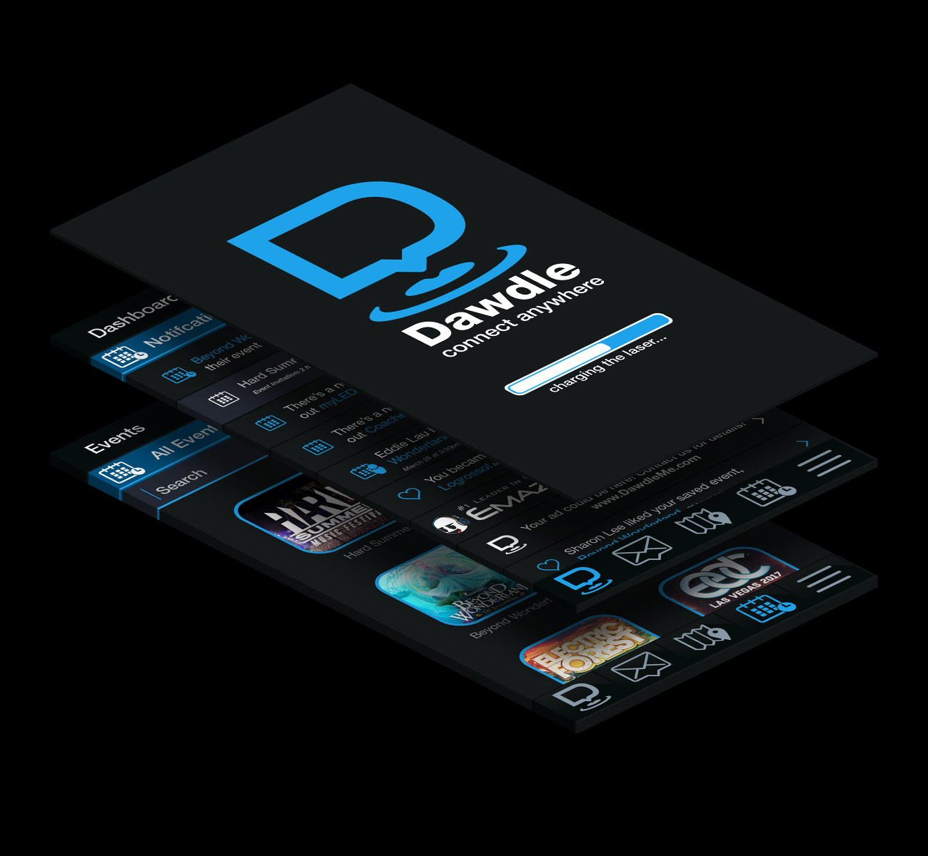 Dawdle dashboard and profile user interface design preview.