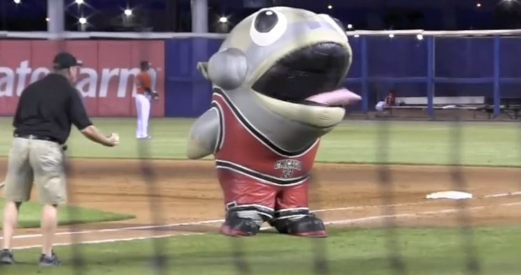 Mascot Eats A Member Of The Field Crew And Spits Him Out!