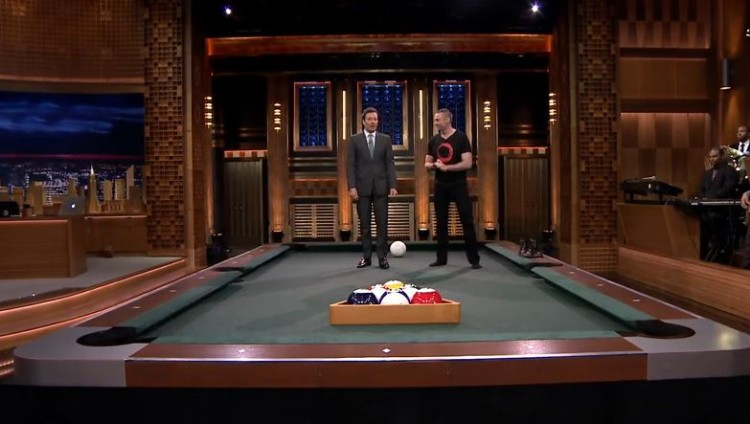 Jimmy Fallon Invents The Coolest But Most Ridiculous Game Of Pool Bowling And Has Hugh Jackman Help Him Test It Out