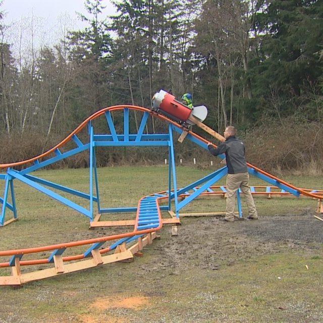 Dad Builds DIY Backyard Roller Coaster