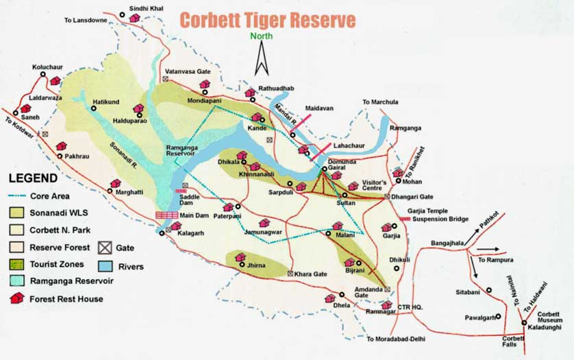 Jim Corbett National Park Zones Map