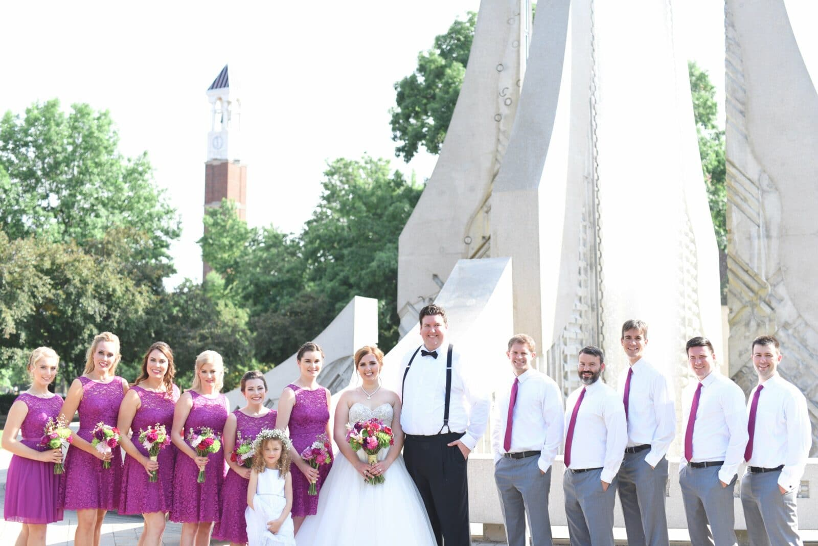 bridal party on purdue university campus
