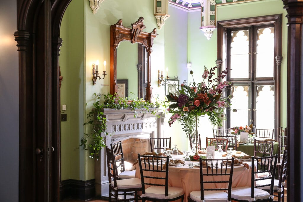Decorated dining room at Fowler House Mansion in Lafayette, Indiana
