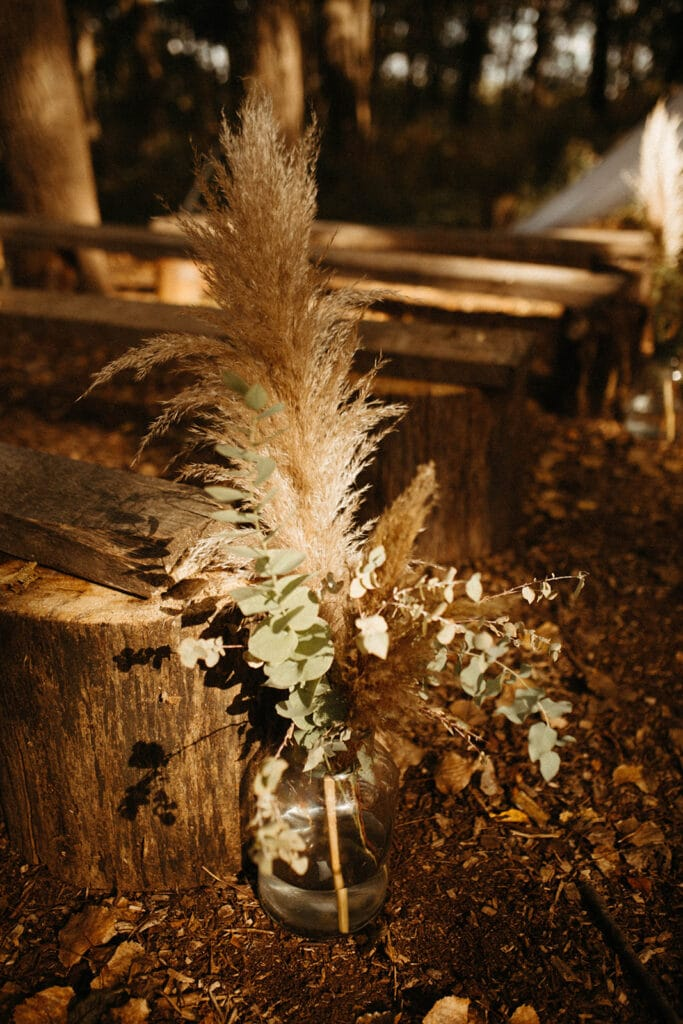 pampas grass in bottles for fall outdoor wedding ceremony