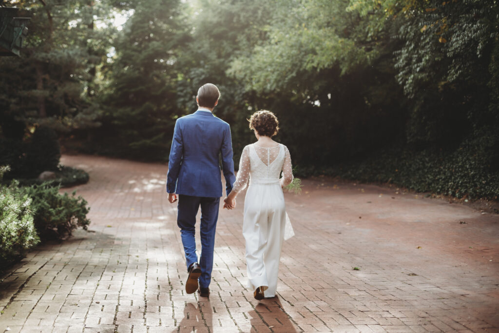 bride and groom at modern midwest elopement