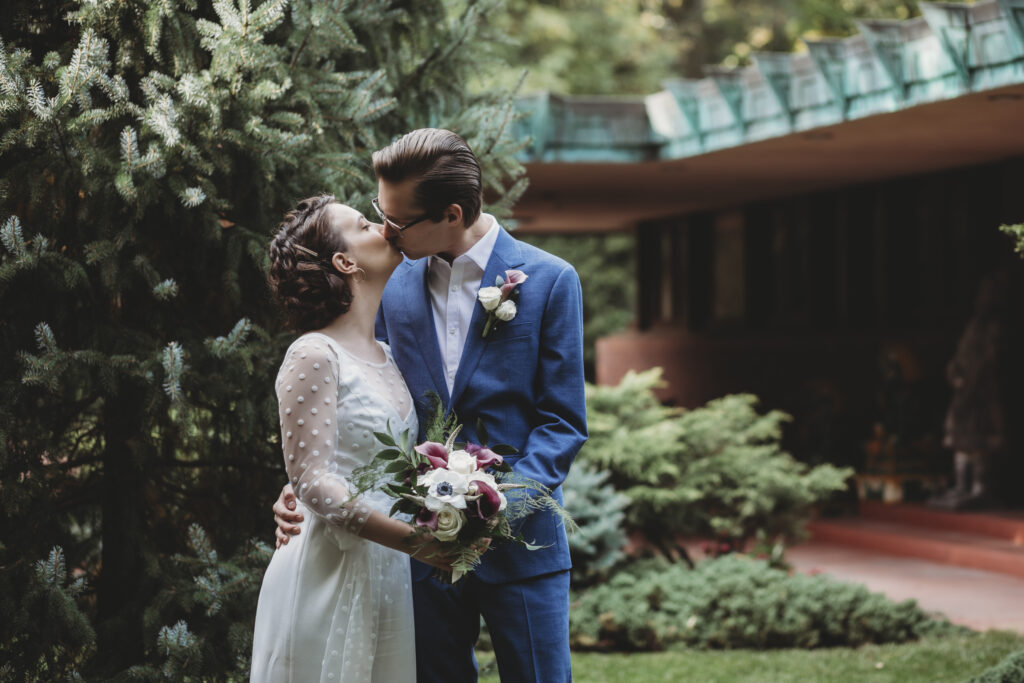 Bride and Groom at their microwedding at unique and modern midwest venue