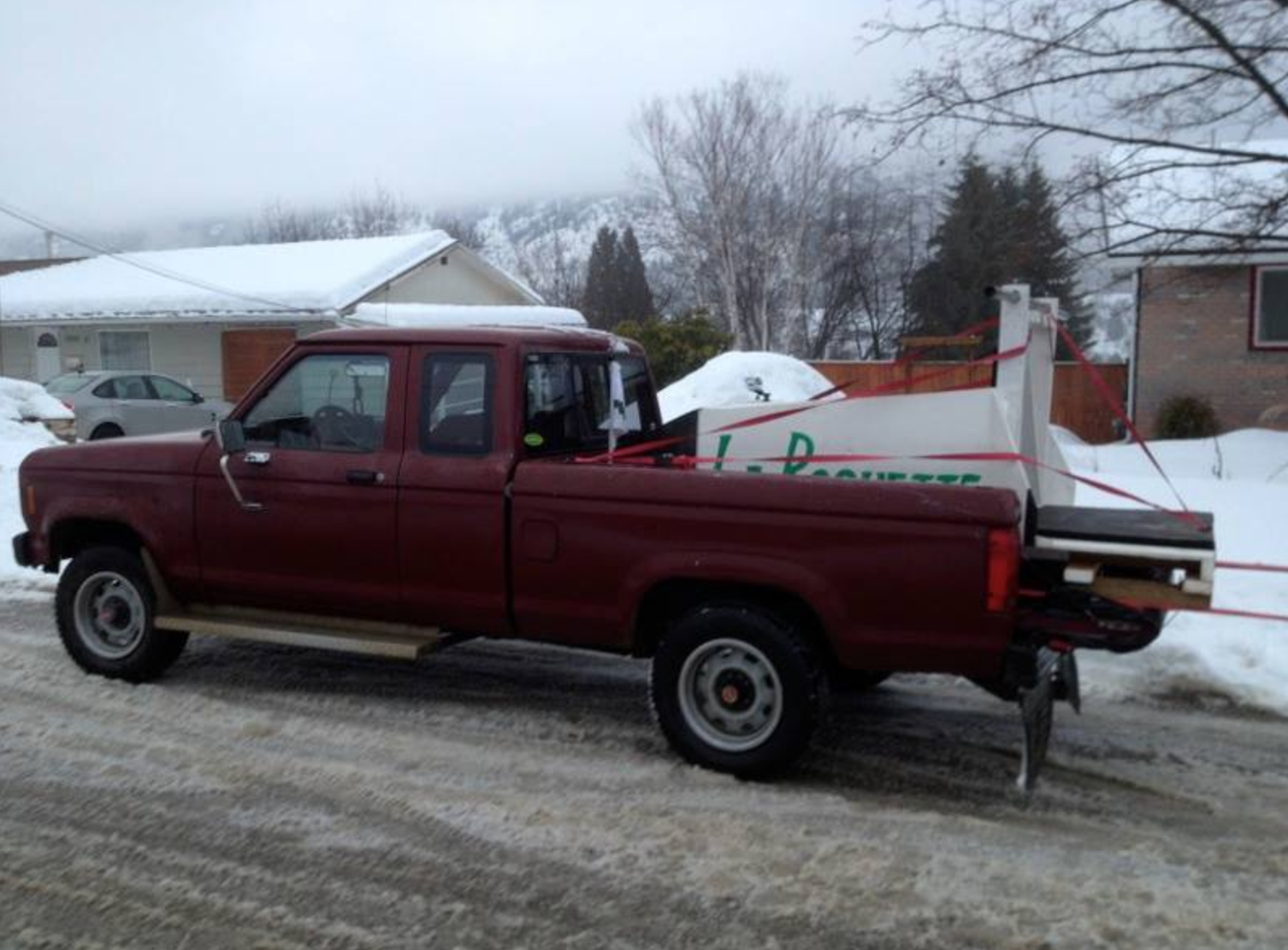 Hauling La Roquette to the bobsled races in Rossland.