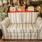 Loveseat Sofa Sets | Brown Pinstriped Loveseat