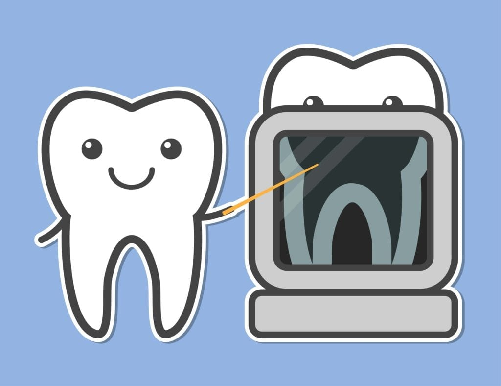 cartoon of teeth getting x-rayed