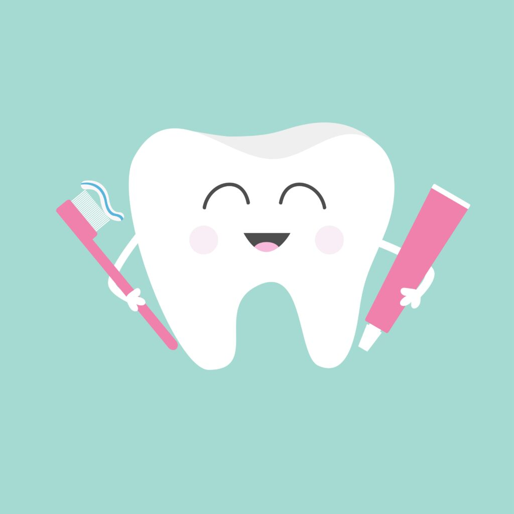 happy cartoon tooth holding toothpaste and toothbrush