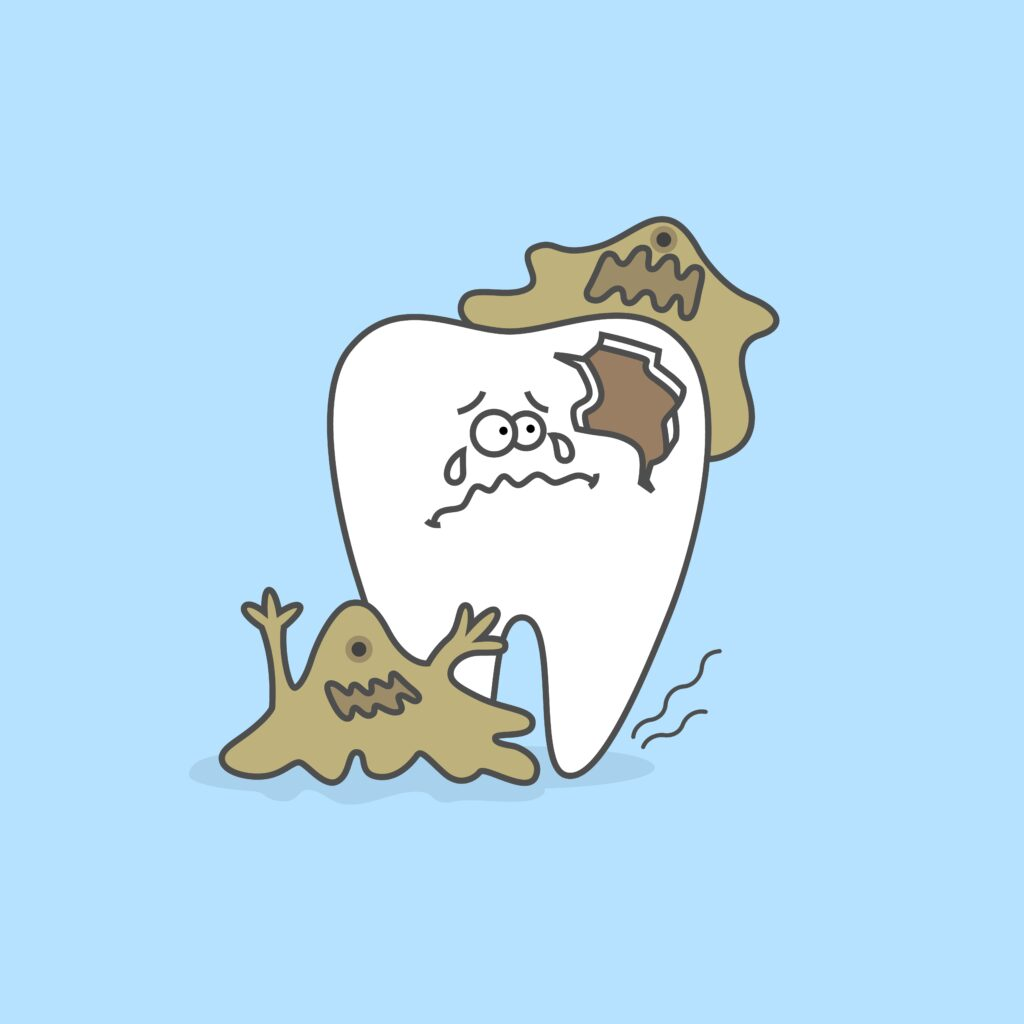 sad cartoon tooth being eaten by plaque