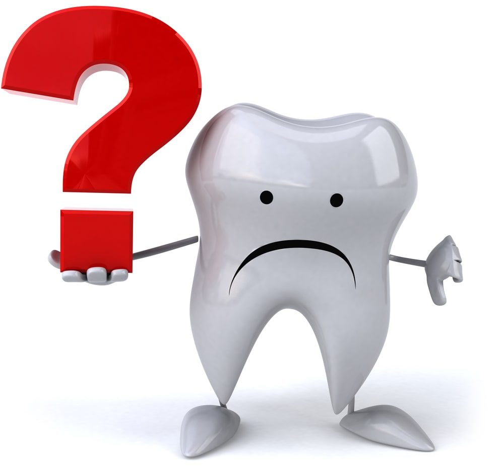 sad tooth with question mark