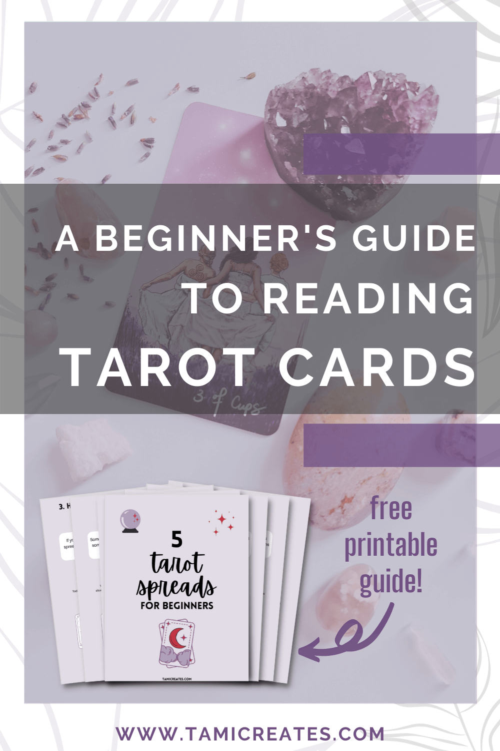 It can be confusing to know where to start with tarot cards. Here's a beginner's guide to tarot cards, plus a free printable guide to tarot spreads for beginners! #tarotcards #tarotspreads #tarotguide #freeprintable #magic #witchy #wicca