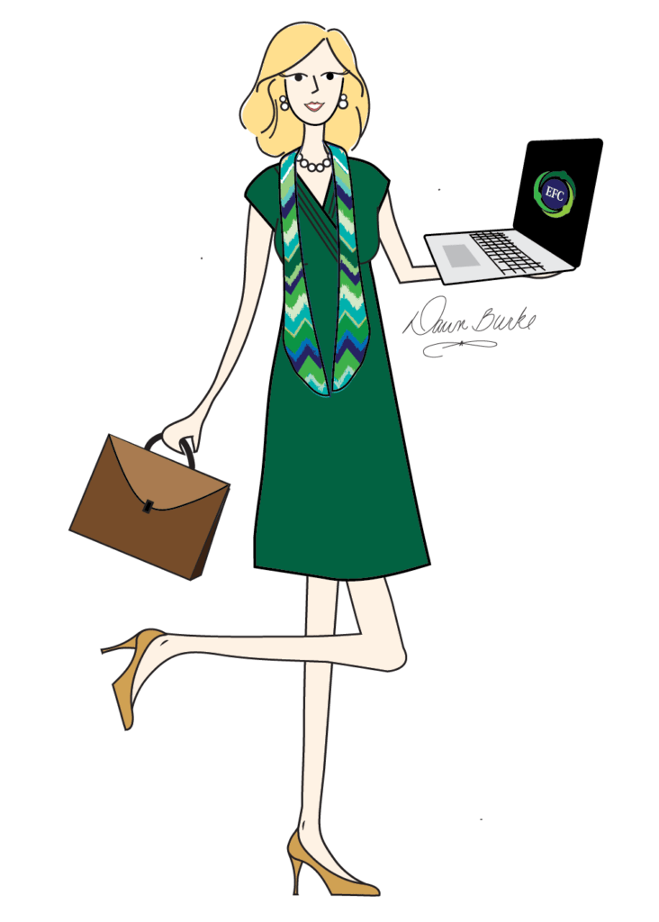 illustration of bookkeeper Sandy Seiler