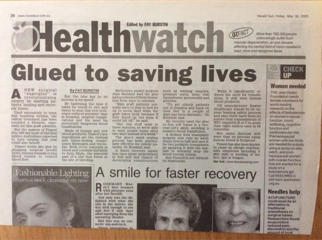 Glued to saving lives cosmetic surgery Melbourne