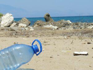 plastic bottle, bottle, beach