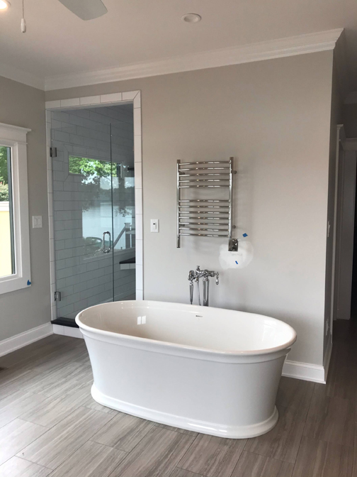 This is a picture of a bathroom that has been beautifully redone by Blevins Plumbing