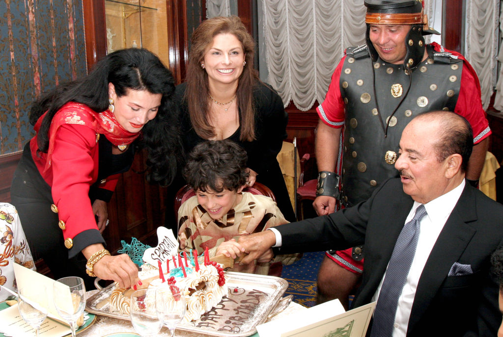 Adnan Khashoggi, grandson Spartan Daggenhurst, daughter Nabila Khashoggi, and Lamia Khashoggi