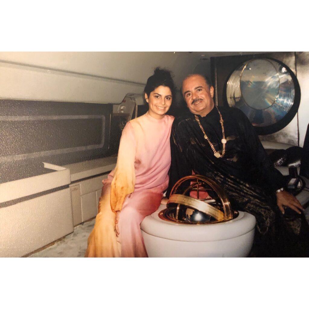 Adnan Khashoggi and Nabila Khashoggi onboard the DC-8 Jet