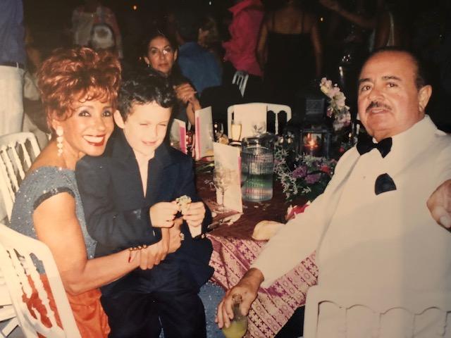 Adnan Khashoggi, Singer Shirley Bassey, and Grandson Spartan Daggenhurst