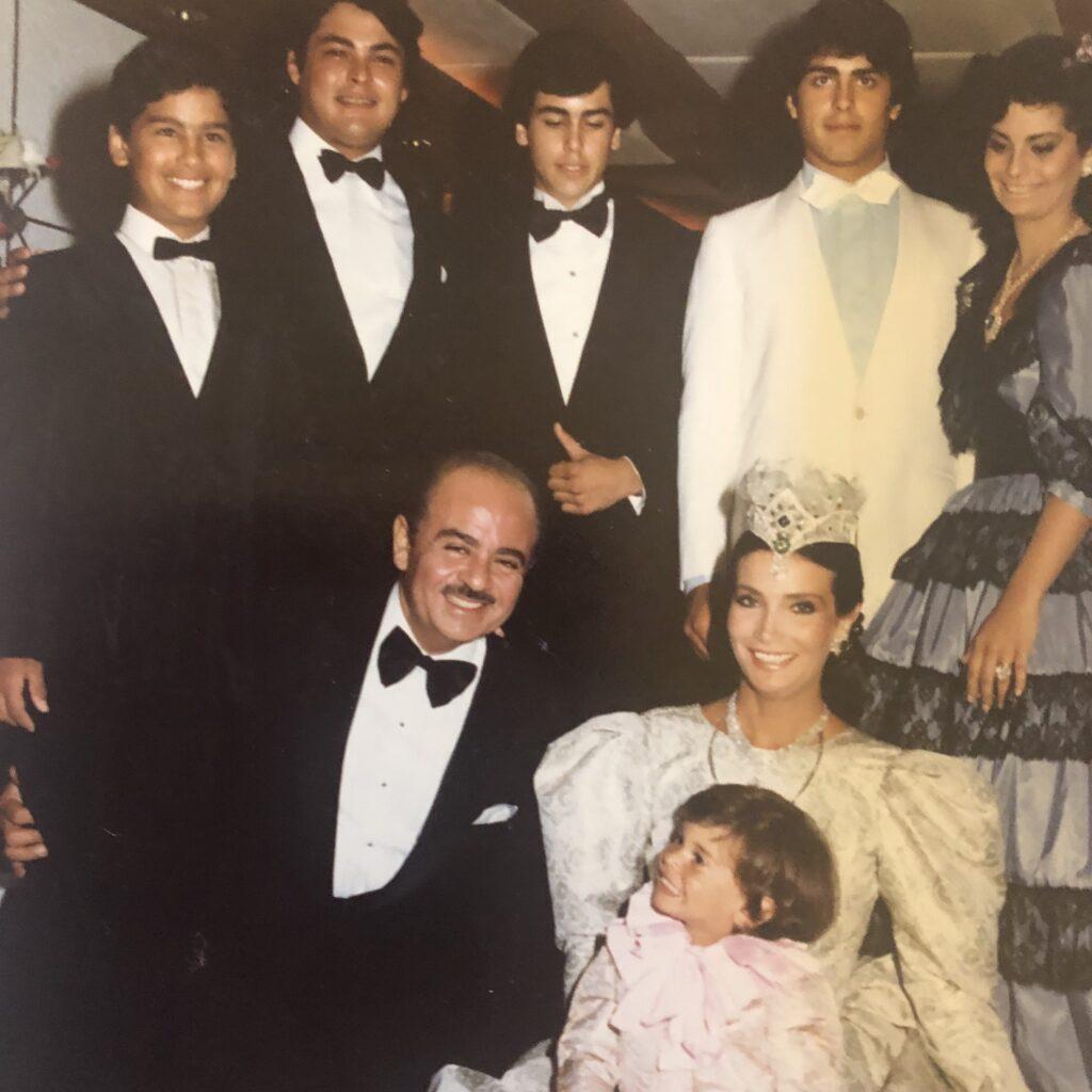 Adnan Khashoggi and Lamia Khashoggi with sons Ali, Omar, Hussein, Khalid, Mohamed, and daughter Nabila
