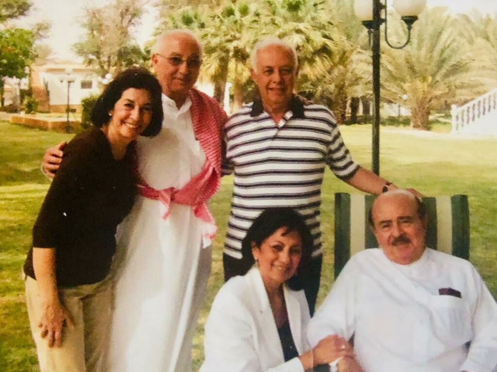 Adnan Khashoggi with brother Adil and sisters Soheir and Assia with husband Ahmed Foustok