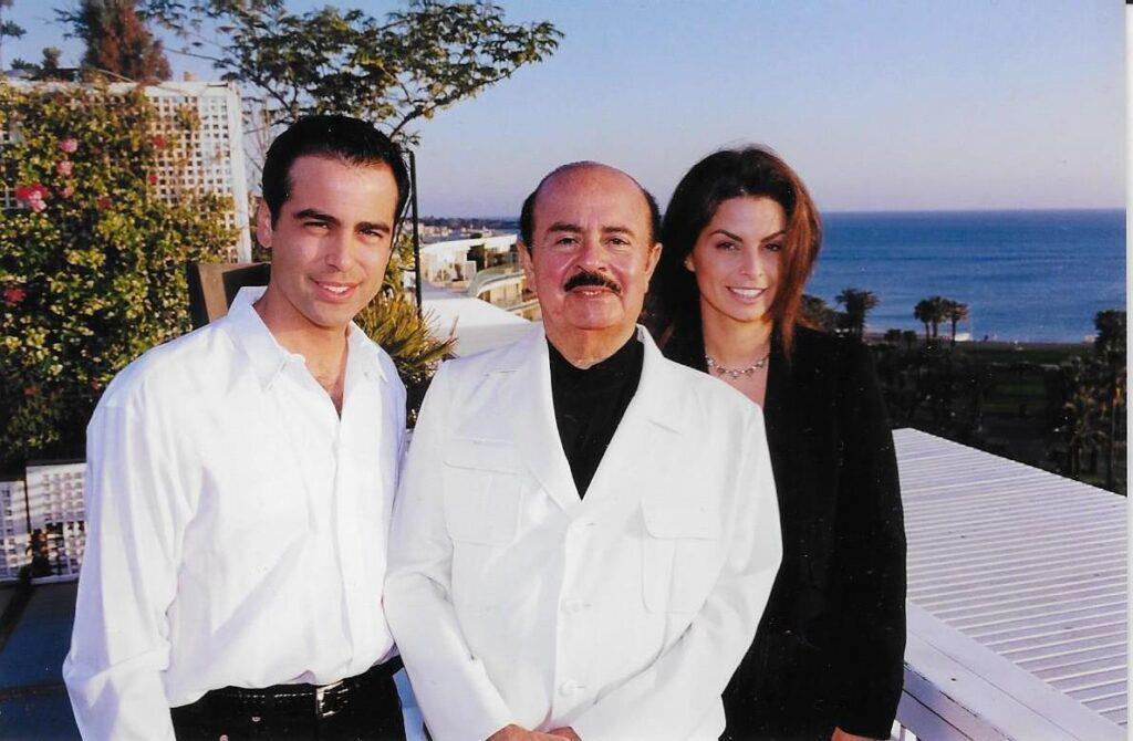 Adnan Khashoggi with son Hussein Khashoggi and daughter Nabila Khashoggi