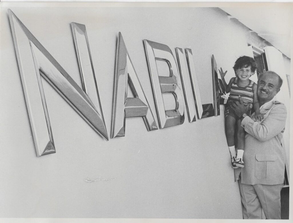 Adnan Khashoggi on board the Nabila Super-Yacht