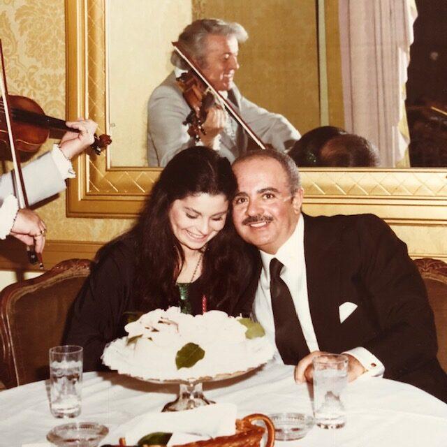Adnan Khashoggi with Nabila Khashoggi on her birthday